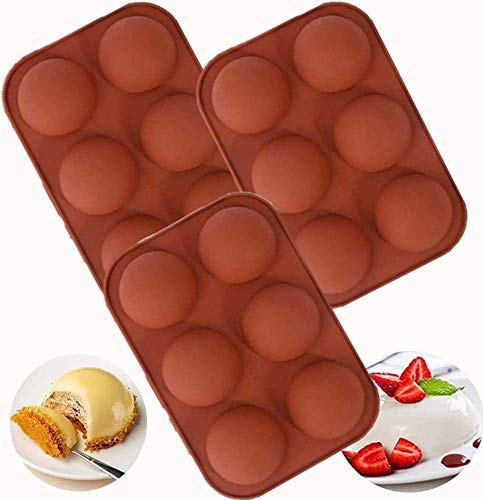 Medium Semi Sphere Silicone Mold, 3 Packs Half Sphere Silicone Baking Molds for Making Chocolate,...