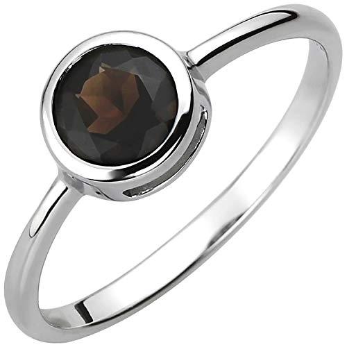 JOBO Damen-Ring aus 925 Silber mit Rauchquarz Größe 58