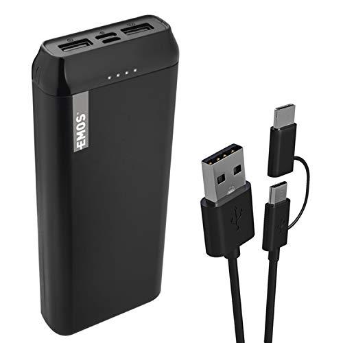 EMOS ALPHA Powerbank 20000mAh / Externer Akku / Ladegerät / PASSthrough / Ausgang 2× USB+USB-C / Eingang micro USB+USB-C / 2-in-1 Kabel / Auto ON/OFF / für Handy, Tablet, iPhone, iPad, Galaxy, Huawei