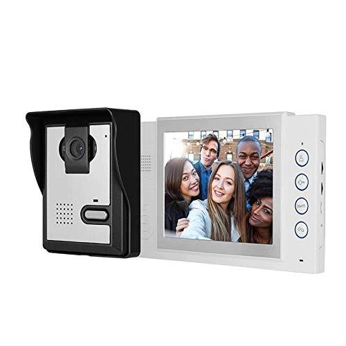 Intercomunicador con Timbre, Videoportero LCD HD de 8 Pulgadas, Visión Nocturna con 5 Luces LED IR, Timbre con Intercomunicador con Cable (Color : White, Size : 8in)