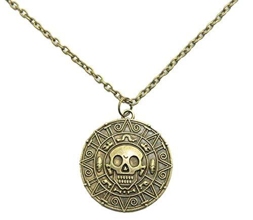 Bontand Inspiriert Von Fluch Der Karibik Filme Cursed Aztec-münzen-medaillon-Halskette Schädel-Halskette