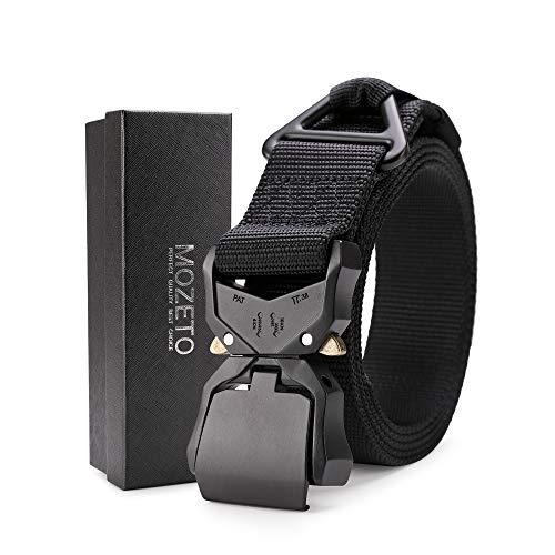 "MOZETO Tactical Belt, 1.5"" Military Heavy Duty Nylon Utility EDC Quick Release Gun Belt with D-Ring Non Slip Locking Buckle"