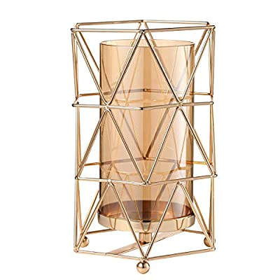 Candle Holders with Geometric Metal Frame, Transparent Separable Outer Glass Cover, HandMade-Plated Candlesticks Set,Hurricane Candle Holders for Home Wedding Holiday Party or Gift(Gold Color) by Gelible