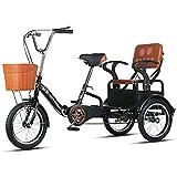 Triciclo de Adultos Triciclo Adulto Tres Ruedas Bici 16 Pulgadas Adultos Triciclos De Adultos Triciclo Plegable 16inch Trible Bicicleta Bicicleta Simple Moderna Ciudad De La Ciudad De La (Color:negro)