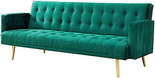 Kkcd Schlafsofa Samt Sofa Modernes Haus Wohnzimmer Sofa Dreibettzimmer Sofa, Grau, Rosa Blau oder Grün,Green