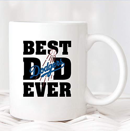 Taza con el texto 'Best Dad Ever Los Angeles Dodgers del equipo de béisbol', taza de regalo del día del padre, taza de los Dodgers del papá de los Dodgers, regalo para papá