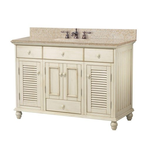 Hot Sale Foremost CTAABG4922D Cottage 49-Inch Width x 22-Inch Depth Vanity with Beige Granite Top, Antique White