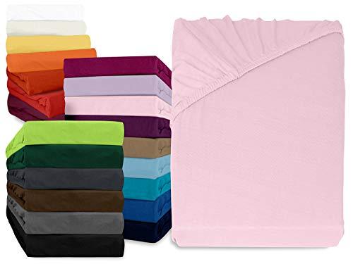 npluseins klassisches Jersey Spannbetttuch - erhältlich in 34 modernen Farben und 6 verschiedenen Größen - 100% Baumwolle, 140-160 x 200 cm, rosa