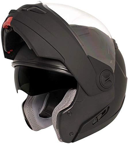 HAWK Helmets ST 1198 Matte Black Modular Motorcycle Full Face Helmet for Men & Women with Dual Flip Up Sun Visor DOT Approved for Bike Scooter ATV UTV Chopper Skateboard (Large)