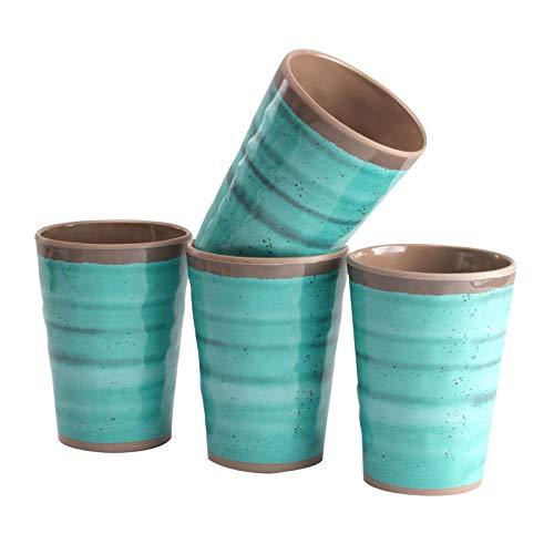 Melamin Geschirr 4 Becher 400ml ideal für Camping Steingut Optik Trinkbecher Kaffeetasse Kaffeebecher Tasse Campinggeschirr Picknick Kindergeschirr modernes Melamingeschirr Outdoor Tassen grün blau