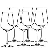 KADAX Juego de 6 copas de vino tinto de cristal de 450 ml, copas de vino con tallo alto, para casa, fiesta, y posavasos anchos