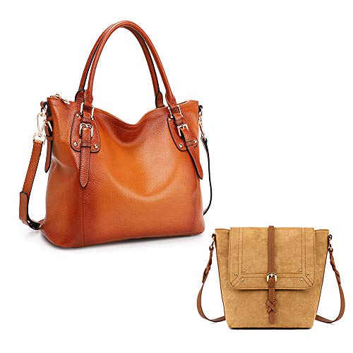 ✿ Leather Handbags--100% Brand new and well made; Vintage waxed imported cowhide leather materials with beautiful colors; The golden hardware is high quality; Super soft leather with a comfortable hand feeling. ✿ Small Leather Cross-body Bag--Made of...