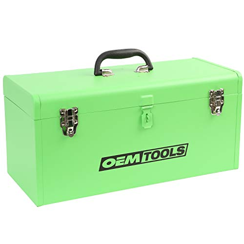 OEMTOOLS 24673 20 Inch Steel Flat Top Lockable Tool Box | Durable & Convenient Portable Storage Option for Professionals | All-Steel Body, Including Removable Tray | Dual Lock Steel Latches