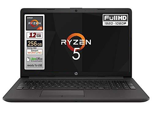 "Notebook Hp 255 G7 CPU AMD Ryzen 5 3500U 4 core 3,7 GHz display da 15,6"" Full HD SSD Nvme 256Gb, 12 Gb DDR4, 3 usb, , lan , wifi webcam, ,Win 10 Pro , Libre Office, Pronto all'uso, Garanzia Italia"