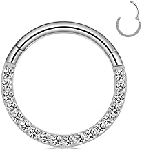 Nose Ring Hoop, CICIMOTO Daith Earrings 16G Surgical Steel Fake Nose Rings CZ Cartilage Helix Piercing Jewelry Septum Hoop Earring for Women, 8mm Silver