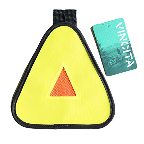 Vincita Reflective Yield Symbol with Hook & Loop Strap - High Visibility for Safety at Night - Safety Reflector for Bike Rack, Backpack, Car Rack - Bicycle Reflective Accessories (Yellow/Orange)