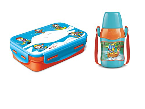Milton Lunch Box Plastic and Steel Kid's School 525ml Steely Mini Lunch Box with 400ml Sonic Water Bottle Set (Colour May Vary, us)