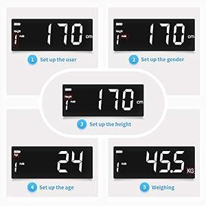 Personenwaage Digitale Waage Körperfettwaage für Knochengewicht BMI Muskelmasse Wasser Kalorien Protein von ELEHOT (schwarz)