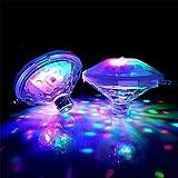 Luz Subacuática Flotante, Piscina LED Luz Discoteca Fiesta Luz Brillo Muestra Fiesta Al Aire Libre Bañera Luz Spa Lámpara Piscina Para Ducha, Fiesta, Regalo De Navidad (2 PACK)