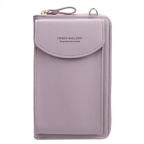 Ecosway Geldbörse für Damen, große Kartenfächer, Handtasche, einfarbig, diagonale Tasche, Multifunktions-Clutch mit Reißverschlusstasche, violett (Violett) - EB020200506A