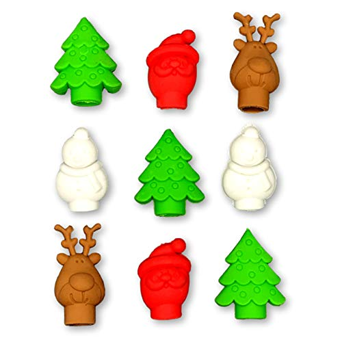 Assorted Christmas Characters Cap Erasers - Snowman Christmas Tree Reindeer Santa Claus - Classroom School Supply or Party Favor - 18 Pieces