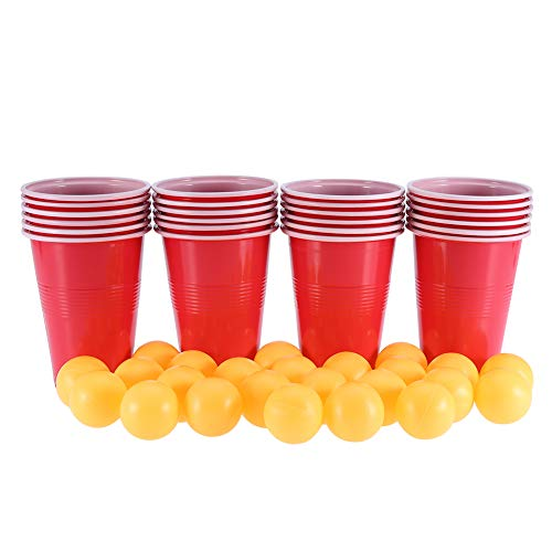Beer Pong Set, Red Fun Ping Pong Balls Juego de Juguete, 24 Ping Balls para Juegos de Entretenimiento Navidad
