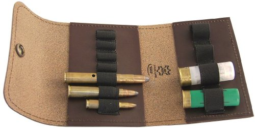 Patronenetui, Leder braun, mit Gürtelschlaufe, 7 große Kugeln / 4 Schrot