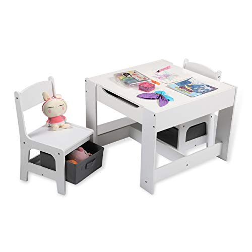 TRINEAR 3-Piece Kids Table and Chairs Set with Storage,Kid Activity Table and 2 Chair Set with Removable Tabletop for Drawing/Study/Eating/Blocks/Art Playroom