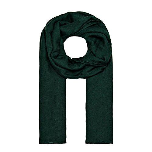 MANUMAR Schal für Damen einfarbig | Hals-Tuch in dunkel-grün als perfektes Herbst Winter Accessoire | Klassischer Damen-Schal | Stola | Mode-Schal | Geschenkidee für Frauen und Mädchen