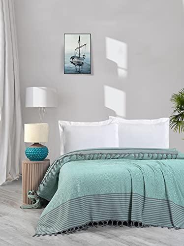 Bett abdeckungen, Tagesdecken Baumwolle Sommer Gemütliche Decken 100prozent Handwoven Türkische Wirft für Sofa,Schlafzimmer,Strand,Picknick,bettdecke mit Quasten, 200x250 cm (Minze)