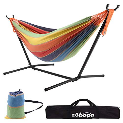 Zupapa Hammock with Stand 2 Person, 550 Pound Capacity Portable for Backyard, Camping Indoor Outdoor Use, Adjustable Steel Hammock Stand and Extra-Large Cotton Hammock, (Rainbow Color)