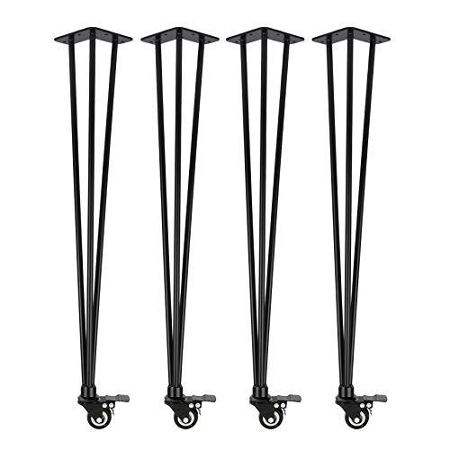 4x Natural Goods Berlin Hairpin Legs 'n'Roll | bewegliche Haarnadel Tischbeine rollbar | Tischgestell auf Rollen, Tischkufen flexibel DIY (72cm (Esstisch/Schreibtisch), Schwarz)