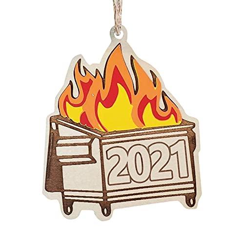 Hirolan 2021 Holz MüLlcontainer Dekobaum Vintage Geflammtes Weihnachtsdekoration Feuer Weihnachtsverzierung Weihnachtsbaum Weihnachten Deko Weihnachtsdekoration 7.5Cm/2.95In X 14.5Cm/5.7Inches