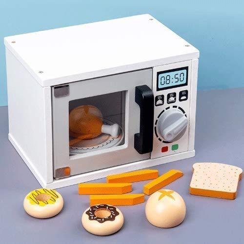 Raelf Juguete de cocina de alimentos para niños Pretend Play Toy Toy Toy Simulated Kitchen Toys Pelaje Papel Little Chef Microondas Conjunto con Accesorios de Alimentos Jugar Cocina Jugar Juguetes par