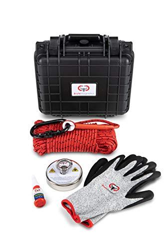 "Brute Magnetics | 800 lb Magnet Fishing Kit |Brute Box Carry Case, 3.54"" Neodymium Magnet, Rope, Carabiner, Gloves and Threadlocker"