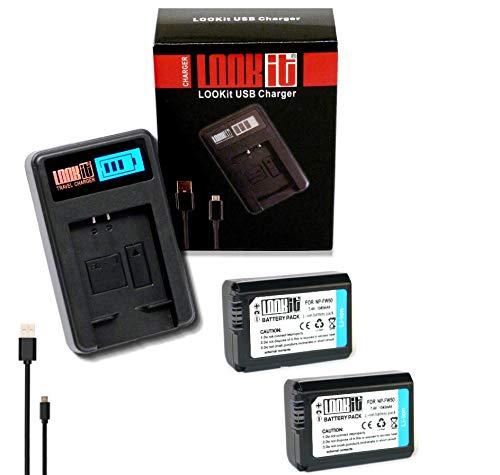 LOOKit LCD Ladegerät + 2x LOOKit Akku NP FW50 / 1045mAh -- passend für Sony DSC RX10M4 Alpha 6500 RX10 IV rx10 m4
