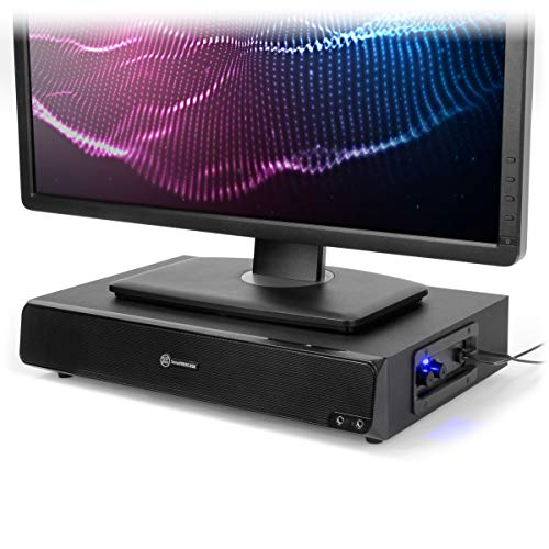 GOgroove 2.1 Computer Speakers and Monitor Stand 2-in-1 System - SonaVERSE BSE Desktop Computer Monitor Riser with Built-in USB Speaker Sound Base, Headphone AUX and Mic Ports, Volume & Bass Controls
