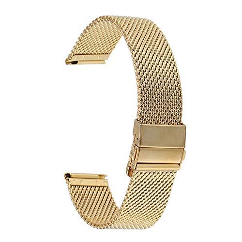 HUMINGG Correa Reloj 18/20 / 22mm Gold Acero Inoxidable Reloj de Relojes Double Push Button Butterfly Hebilla Reloj Reloj de reemplazo de la Banda (Band Color : Gold, Band Width : 20mm)