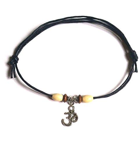 Black 1mm Double Wrap Waxed Cotton Adjustable Sliding Knot Anklet/Bracelet - Surfer, Hippi, Boho, (Om)