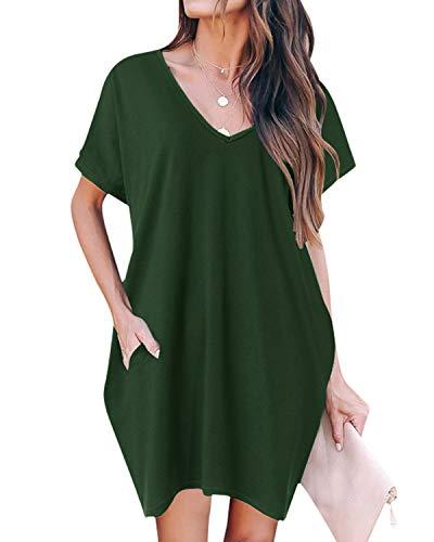ZANZEA Damen V-Ausschnitt T-Shirt Kleider Kurzarm Asymmetrisch Minikleid Oversize Tunika Z-grün 46-48 EU