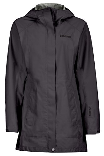 Marmot Women's Essential Lightweight Waterproof Rain Jacket, GORE-TEX with PACLITE Technology, Jet Black, X-Large