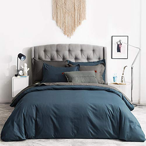 SUSYBAO 2 Pieces Duvet Cover Set 100% Natural Cotton Twin/Single Size 1 Duvet Cover 1 Pillow Sham Dark Teal Luxury Quality Ultra Soft Breathable Durable Lightweight Solid Bedding with Zipper Ties