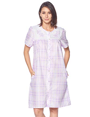 Casual Nights Women's Snap Front House Dress Embroidered Short Sleeve Seersucker Duster Housecoat Robe Lounger, Plaid Purple, Medium