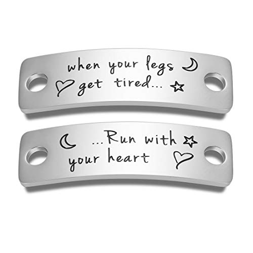 Running Shoe Tags Marathon Metal Bar Birthday Gifts Tag Charms for Fitness Men Women Runner When Your Legs Get Tired Run with Your Heart Inspirational Graduation Shoelace Charm Present for Coach BFF Daughter Son