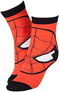 Marvel Official Spiderman Mask Red Socks