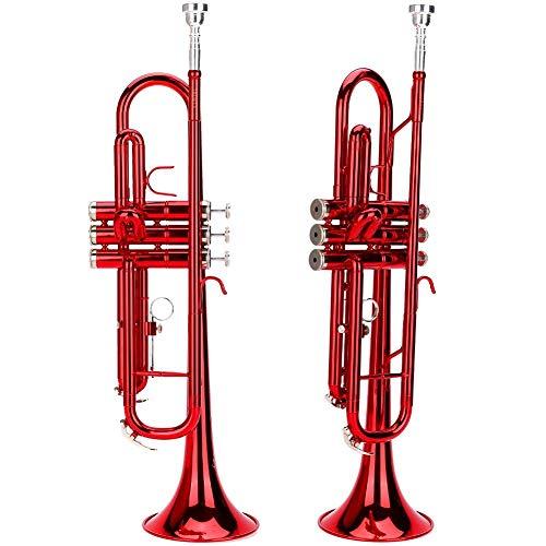Blechbläser Trompete, Trompete flach Messing für Trompete Musik Blasinstrument In 3 verschiedenen Farben(red)
