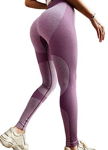 INSTINNCT Damen Gestreifte Nahtlose Leggings Slim Fit Jogginghose Sporthosen Fitnesshose B-Herz Stil (Lila) S