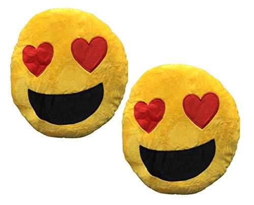 Pack de 2 Cojines emoticones Ojos de Corazon. Cojín Almohada Redonda Emoticon Peluche Bordado 25x25x10cm Cada uno