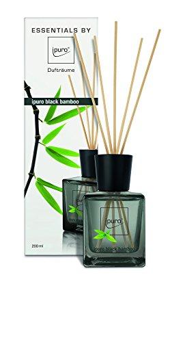 ipuro Essentials Raumduft black bamboo - Raumduft für ein herb-frisches Raumklima - Lufterfrischer mit hochwertigen Inhaltsstoffen (200ml) - aus Glas mit Rattanstäbchen