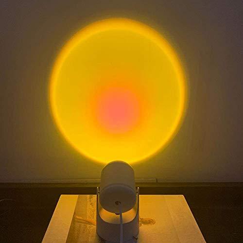 Lámpara de proyección del atardecer, proyector de luz de pie de pie, proyector de 180 grados Rotado Rainbow Proyección LED, para sala de estar Dormitorio Romántico Proyector Regalo para la fiesta de c